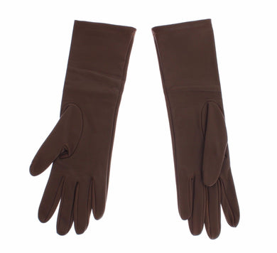 Brown Leather Wrist Slim Womens Gloves