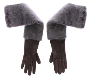 Gray Mink Fur Lambskin Suede Leather Gloves