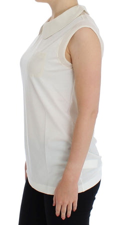 White cotton collar tank top