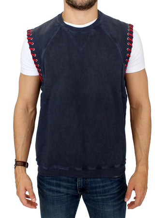 Blue sleeveless vest sweater