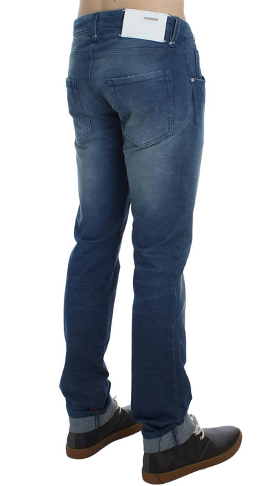 Blue Wash Denim Cotton Stretch Slim Fit Jeans