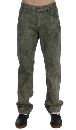 Green Cotton Regular Fit Jeans
