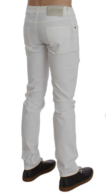 White Cotton Stretch Slim Fit Jeans