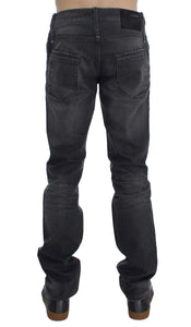 Gray Cotton Regular Low Fit Jeans