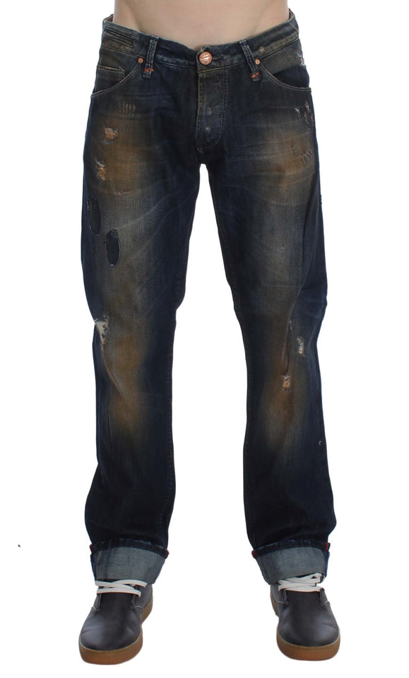 Blue Wash Cotton Regular Straight Fit Jeans