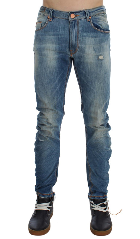 Blue Wash Cotton Slim Twist Fit Jeans