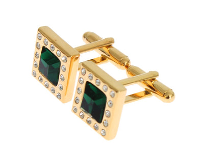 Gold Brass Clear Green Crystal Cufflinks