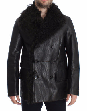 Black Lambskin Leather Jacket Trenchcoat