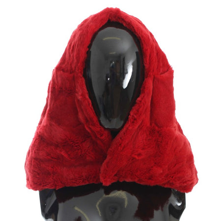 Red Weasel Fur Crochet Hood Scarf Hat