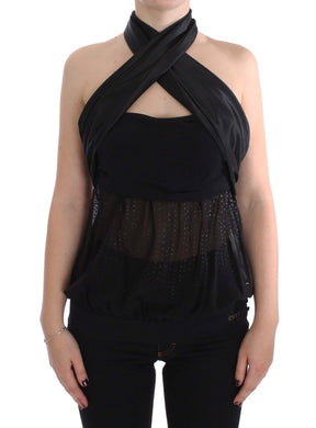 Black Neck Wrap Top Blouse