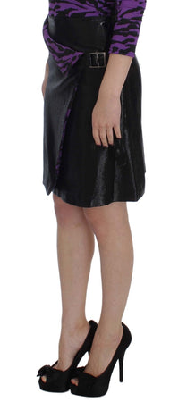 Black Wool Silk Above Knee Straight Skirt