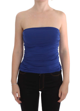 Blue Stretch Bustier Top
