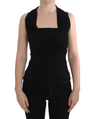 Black Silk Sleeveless Blouse Top