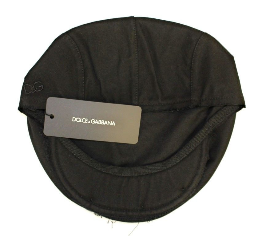 Black Cotton Logo Hat Cabbie