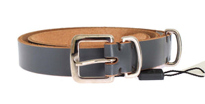 Blue Leather Silver Buckle Belt