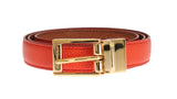 Orange Beige Dauphine Leather Belt