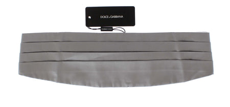 Silver Wide Belt Silk Cummerbund