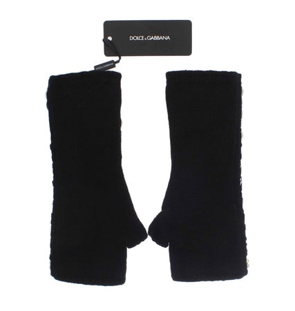 Black Cashmere Crystal Finger Less Gloves