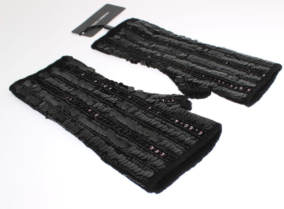 Black Knitted Cashmere Sequined Gloves