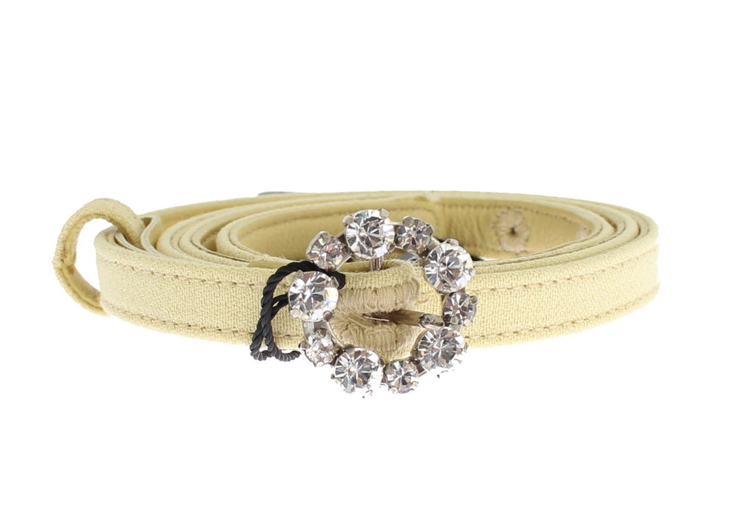 Beige Cotton Leather Crystal Buckle Belt
