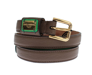 Brown Leather Gold Buckle Logo Waist Belt