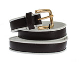 Black Leather Gold Buckle Logo Waist Belt