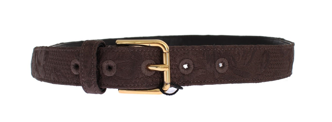 Brown Cotton Brocade Gold Buckle Logo Belt