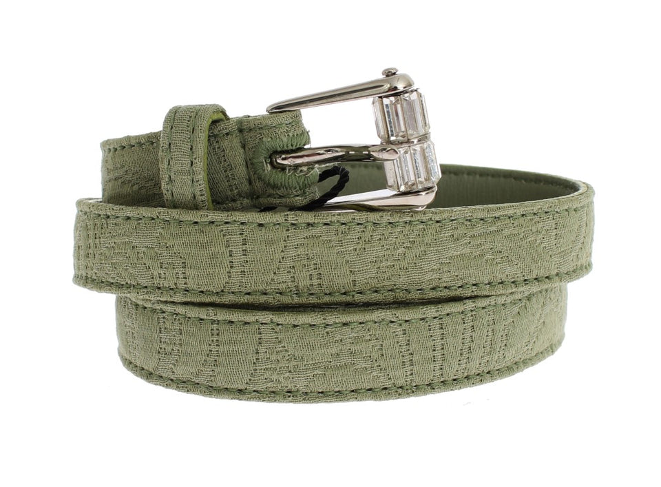 Green Cotton Silver Buckle Logo Waist Belt