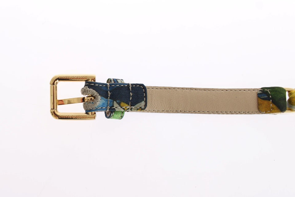 Multicolor Cotton Gold Branded Buckle Belt