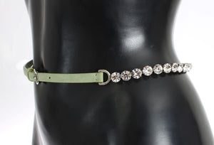 Green Leather Clear Crystal Waist Belt