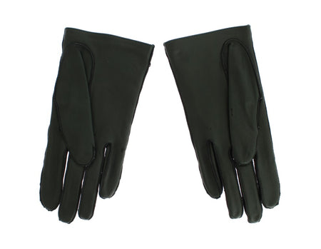 Green Leather Womens Hands Gloves