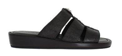Black Ostrich Leather Slides Sandals