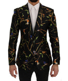 Black Bird Print Silk Slim Fit Blazer Jacket