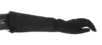 Black Gray Leather Fur Elbow Gloves