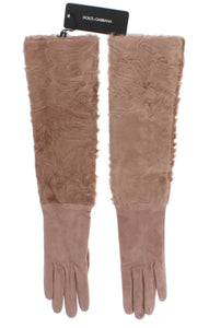 Beige Suede Xiangao Fur Elbow Gloves