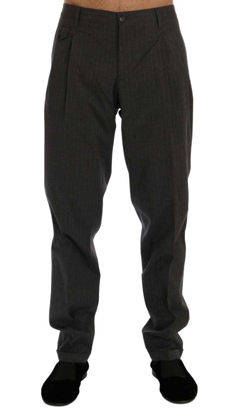 Gray Striped Cotton Dress Formal Pants