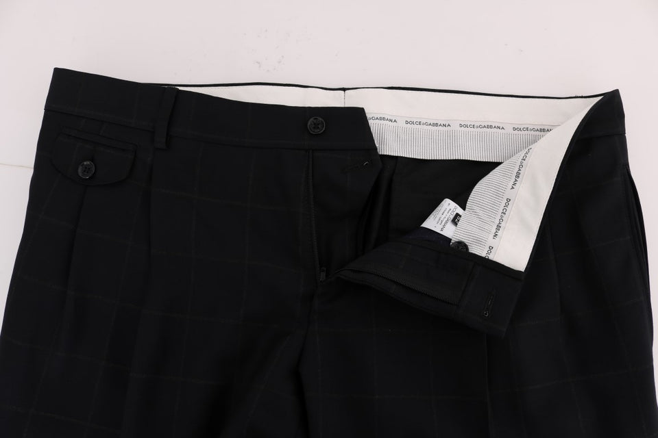 Blue Check Wool Stretch Pants