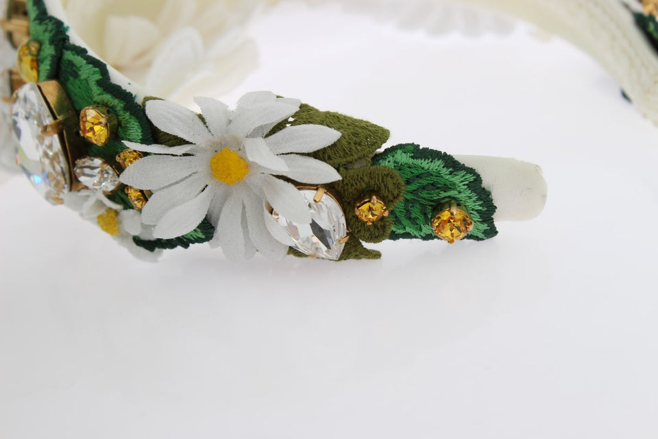 Yellow White Sunflower Crystal Floral Headband