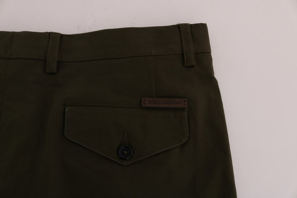 Green Cotton Stretch Capri Pants