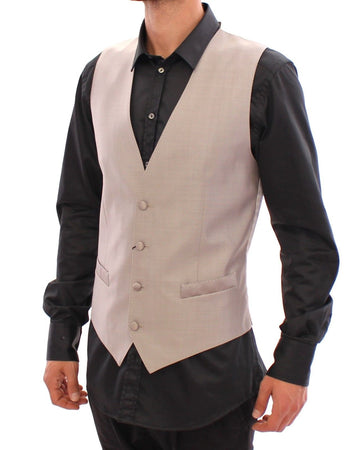 Gray Slim Fit Button Front Dress Formal Vest