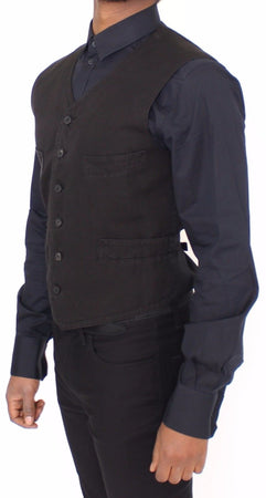 Black Flax Cotton Dress Vest Blazer