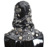 Men's Black Wool Crystal Runway Catwalk Crochet Hood