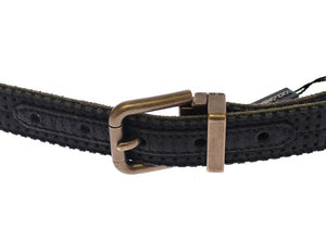 Blue Leather Logo Belt