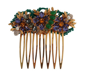 Gold Crystal Floral Fly Hair Comb