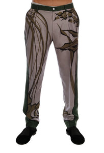 Gray Leaves Print Silk Dress Formal Pants