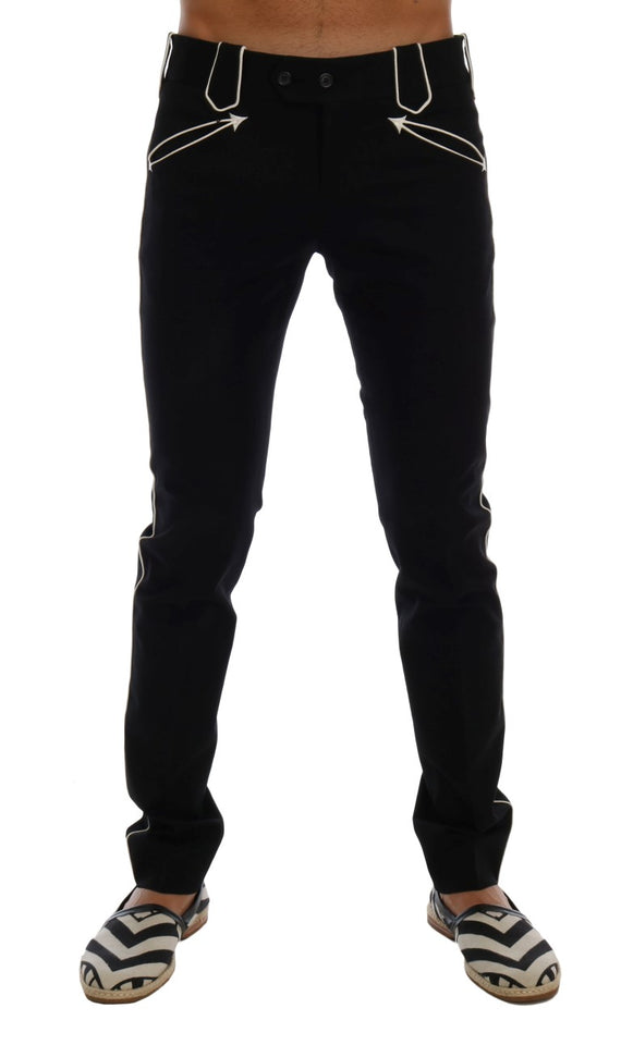 Black Wool Cotton Dress Pants