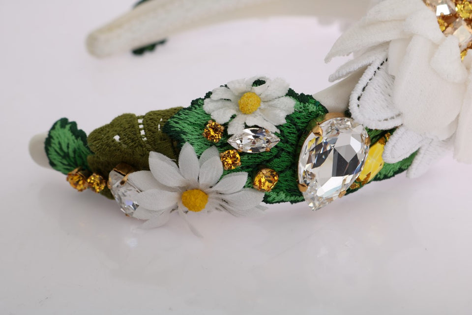 Yellow White Sunflower Crystal Headband