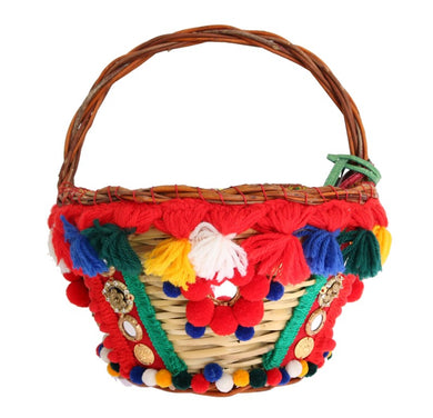 Multicolor AGNESE Straw Crystal  Pom Pom Bag