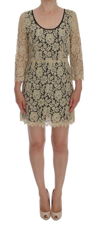 Beige Floral Lace Short Mini Shift Dress