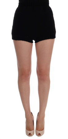 Black Alpaca Wool Mini Hot Pants